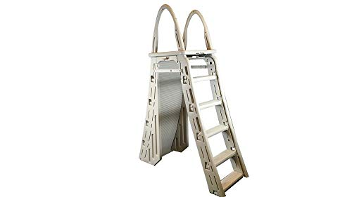 636643 Confer 7200 Roll-Guard A-Frame Above Ground Swimming Pool Safety Ladder, Beige