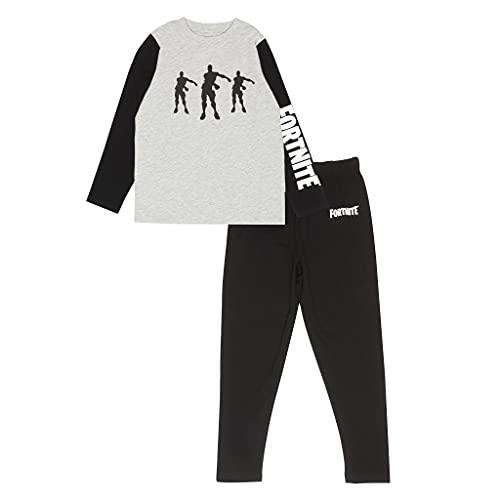 Fortnite Jungen Flossing Emotes Boys Black/Heather Grey Long Pyjamas Set, Schwarz/Grau, 14-15 Jahre
