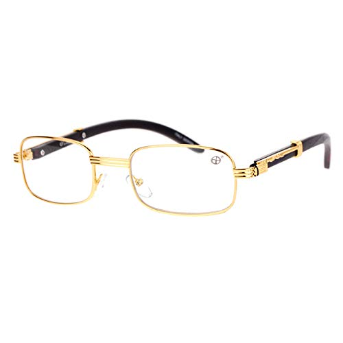 SA106 Art Nouveau Vintage Style Rectangular Metal Frame Eye Glasses Gold