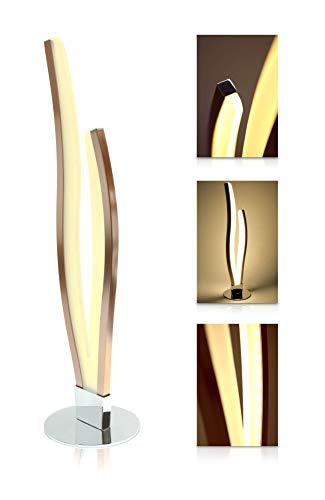 LED Universum Finn Lampe de table à LED au design moderne – Lumière chaude (blanc chaud 3000 K), 12 W, acier inoxydable brossé mat cuivre / rosé-or – Idéale comme lampe de salon, lampe de chevet et lampe de bureau, Aluminium, Nicht dimmbar, S15s 12.0W
