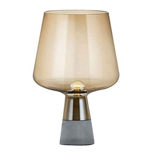 XYZMDJ Moderna Minimalista Cemento lámpara de Mesa, lámpara de cabecera de la Personalidad Dormitorio Sala de Estar Creativa Estudio de la lámpara de Cristal (Color : Dry Ochre)