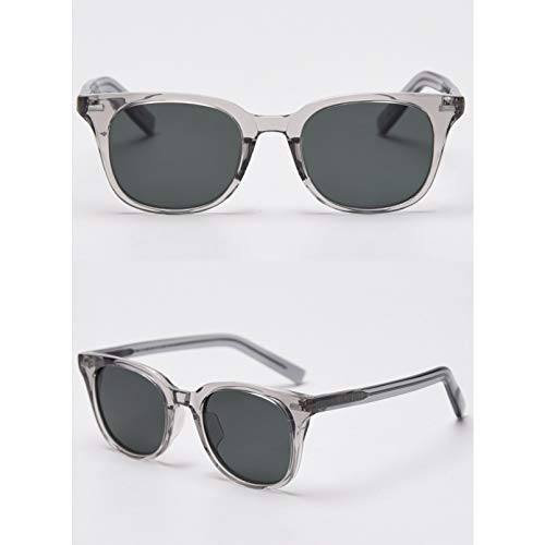 SXRAI Gafas de Sol polarizadas Uv400 para Hombre, Montura Cuadrada, Gafas para Mujer, Acetato Transparente, Amarillo, marrón,C2