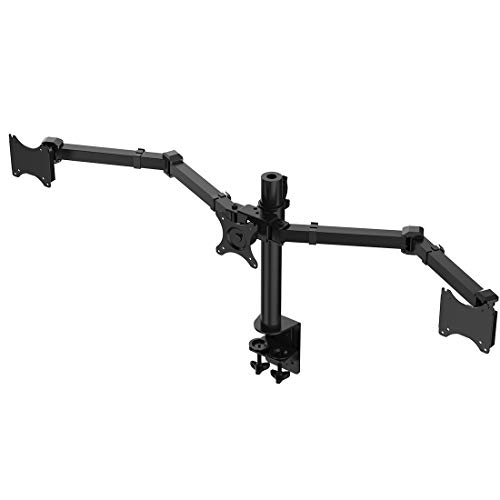 FEIGER Adjustable Triple Arm LCD LED Monitor Desk Mount Stand Bracket for 10'-27' Screens with 45° Tilt, 360° Rotation & 180° Pull Out Swivel Arm