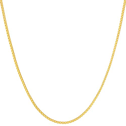 Lifetime Jewelry 1.4mm Box Chain Necklace for Women and Men 24k Real Gold Plated (20)