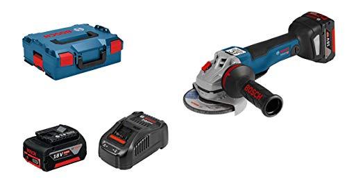 Bosch Professional GWS 18V-10 PC - Amoladora angular a batería (2 baterías x 5.0 Ah, 18 V, conectable, hombre muerto, en L-BOXX)