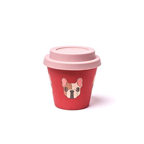 QUY CUP Espresso-beker van bamboe, 90 ml, archille, herbruikbare reisbeker, exclusief Italiaans design, van natuurlijke vezels, BPA-vrij, koffie om mee te nemen