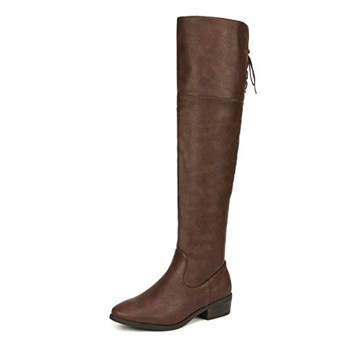 DREAM PAIRS Women's Lei Brown Over The Knee High Low Block Heel Riding Boots Size 8 B(M) US