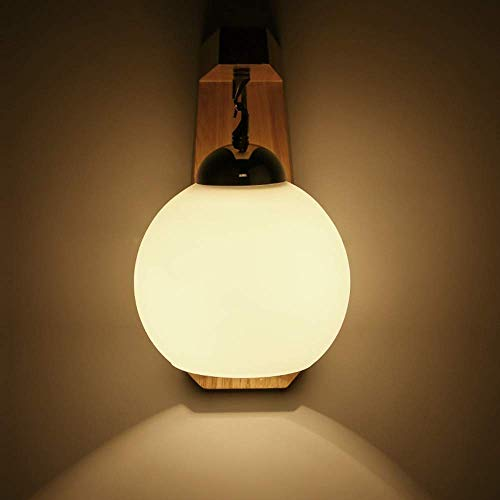 WYRKYP Lámpara de Pared Novedosa, Lámpara de Pared de Madera Iza Minimalista Moderna Nórdica, Personalidad Creativa, Lámparas de Iluminación Esférica, Diámetro 20 cm de Alto, 25 Cm, 5-10 Metros Cuadr