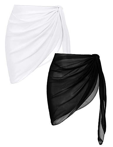 Ekouaer 2 Pieces Women Beach Wrap Short Sarong Cover Up Sheer Chiffon Swimsuit Wrap Black and White Large