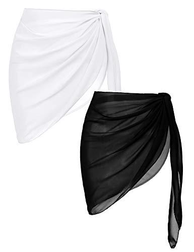 Ekouaer 2 Pieces Women Beach Wrap Short Sarong Cover Up Sheer Chiffon Swimsuit Wrap Black and White Medium