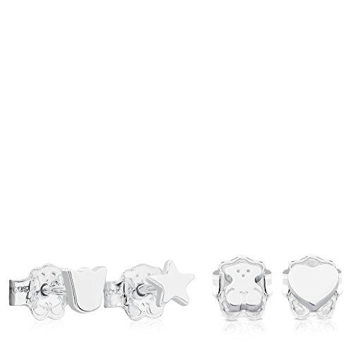 TOUS Pack de 2 juegos de pendientes mujer con 4 motifos diferentes en plata de Primera Ley