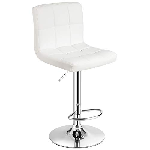 COSTWAY Bar Stool, Modern Swivel Adjustable Armless Barstools, Square Counter Height PU Leather Bar Stools for Kitchen Dining Living Bistro Pub Chair Counter Back Barstool(White, 1 Stool) Cherry Unfinished Bar Stool