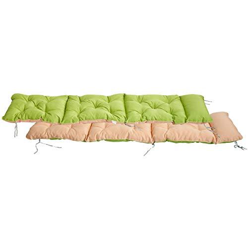 Meerweh Deckchair - Cuscino per Sedia a Sdraio, ca. 195x 49x 10cm, Verde/Beige, 20072