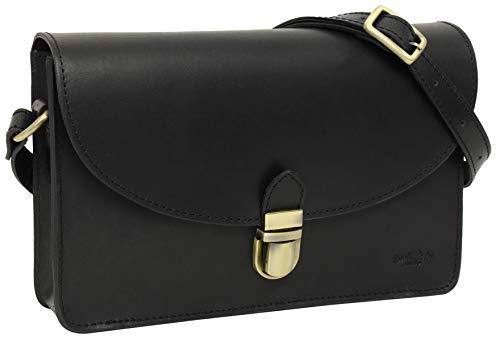 Gusti Handtasche Leder - Zoey Umhängetasche Schultertasche Alltagstasche Tasche Crossbody Ledertasche Damen Schwarz Leder
