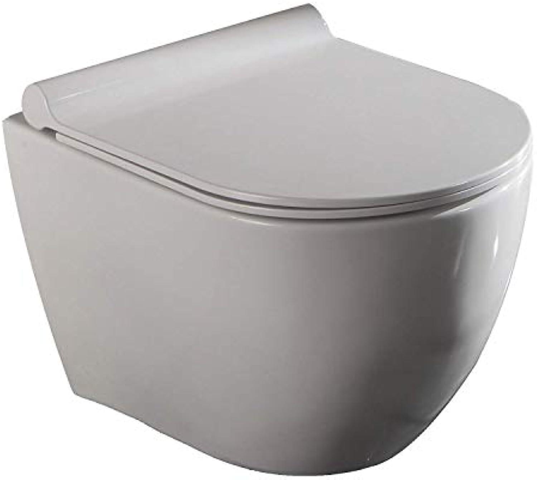 Lux-aqua spülrandlos Wand Hnge Tiefspül Toilette Klo mit Softclose WC Sitz 2196, wei