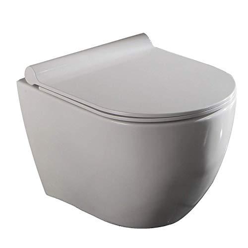 LUX Aqua 219649cm profondità parete WC sospeso–Rubinetto bordo Los toilette Softclose Sedile, Bianco