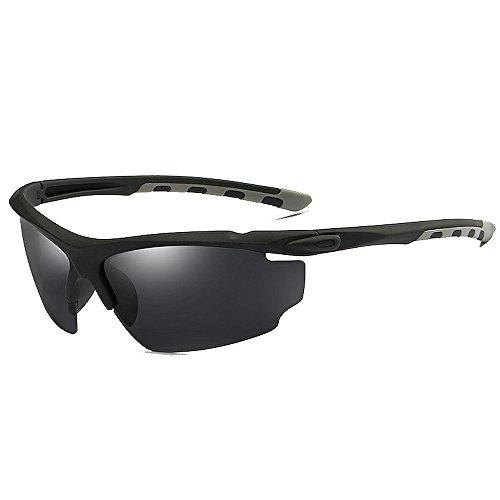 Belleashy Gafas de ciclismo para hombre, polarizadas, UV400, para deportes al aire libre, protección de estilo semirremas, conducción, ciclismo, correr, pesca, golf (color: C1)