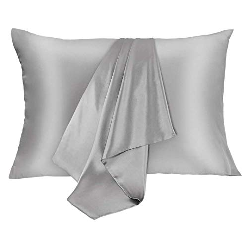 JOGJUE Silk Pillowcase for Hair and Skin 2 Pack 100% Mulberry Silk Bed Pillowcase Hypoallergenic Soft Breathable Both Sides Silk Pillow Case with Hidden Zipper, Queen Size Pillow Cases (Grey)