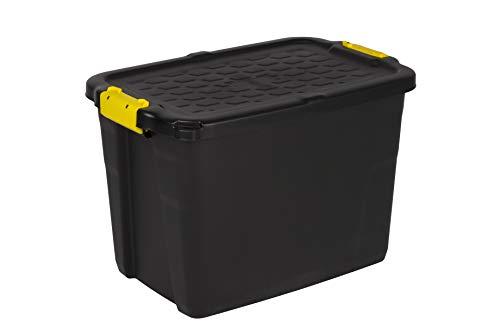 Robuste Transport- und Lagerbox 'TOUGH' in Schwarz mit gelben Clips. Nutzvolumen von ca. 42 Liter. Stapelbar und nestbar. Maße BxTxH in cm: 50 x 40 x 35