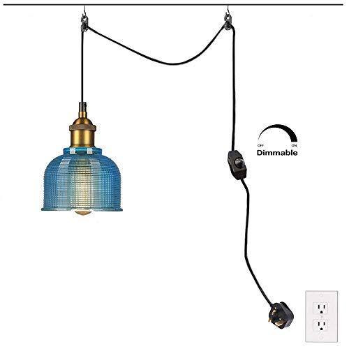 Plug-In industriële hanglamp met 450 cm hangkabel en aan/uit-dimmerschakelaar, glazen swag plafondlampen voor eetkamer - bed kamer keuken eiland tafel Foyer Entryway fdgdsa