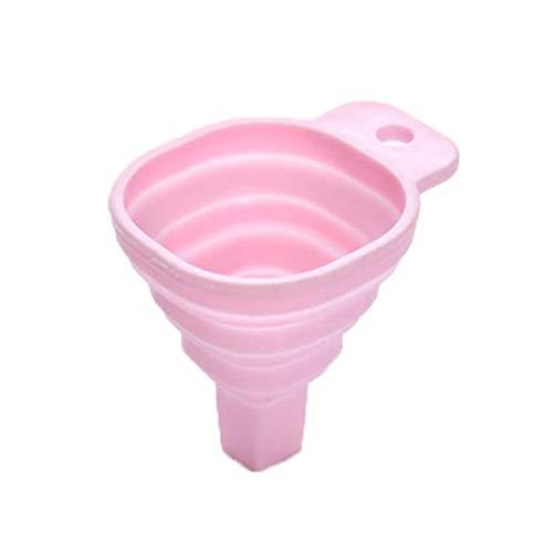 Greatangle Embudo Plegable pequeño Embudo cónico retráctil dispensador de líquido de Cocina Herramientas para Hornear de Grado alimenticio para el hogar Rosa