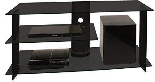VCM TV Rack Lowboard Konsole Fernsehtisch LCD LED Möbel Bank Glastisch Tisch Schrank Aluminium Glas Schwarz