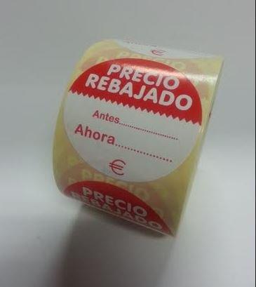 500 Etiquetas PRECIO REBAJADO. Antes Ahora. €. En papel blanco e impresas en rojo, de 50 mm. de diámetro. (se suministran en 1 rollo)