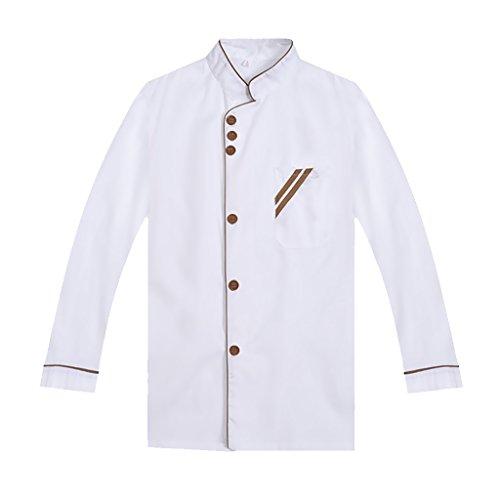 F Fityle Weiß Langarm Kochjacke Bäckerjacke mit Knöpfe Gastronomie Arbeitskleidung Koch Küchen Uniformen Kochkleidung – Weiß, XXL - 3