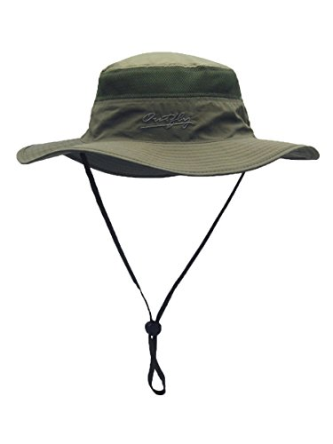WANYING Damen Herren Outdoor Bucket Hut Fischer Hut Buschhut Atmungsaktiv Schnelltrocknend Sonnenschutz - für Kopfumfang 56-60 cm Armee Grün