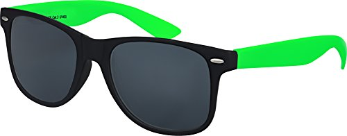 Hochwertige UV400 CAT 3 CE Nerd Sonnenbrille matte Rubber Retro Vintage Unisex Brille mit Federscharnier für Herren und Damen - 100 verschiedene Farben/Modelle wählbar (Hellgrün/Schwarz - Smoke)