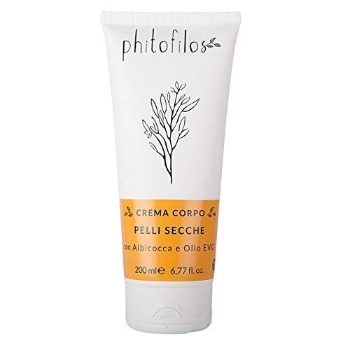 PHITOFILOS - Crème pour le corps peau sèche - à base d'abricot et d'huile d'olive extra vierge - Hydratante et nourrissante - Parfum sans allergènes - Végétalien - Nickel Testé - AIAB - 200 ml