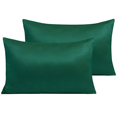 NTBAY Par de fundas de almohada de raso con cremallera, de suave microfibra, para cabello y piel, 50 x 80 cm, verde oscuro