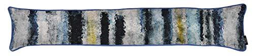 McAlister Textiles Aura - Burlete de aire, diseño de rayas, color azul marino y azul marino, con borde de borde de puerta y ventana, peso de 18 x 90 cm