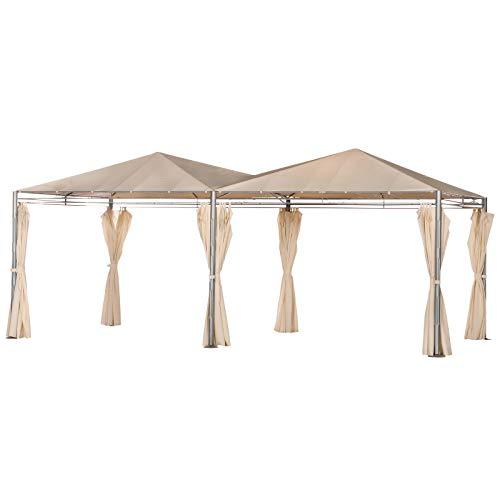 Outsunny Gartenpavillon, Doppel Partyzelt mit Seitenwänden, Gazebo, Festzelt, Polyester, 595 x 300 x 265 cm