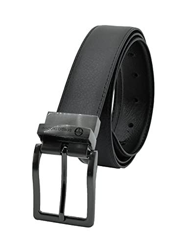 Sergio Tacchini Cintura Reversibile Uomo In Vera Pelle, Fibbia Rettangolare, Regolabile e Accorciabile (125, Nero Marrone)