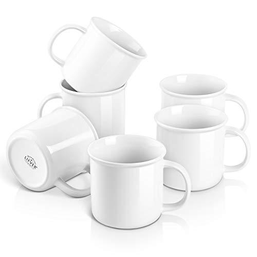 LIFVER Tazas - Juego de tazas de café (porcelana, 530 ml, 6