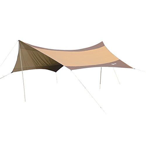 Outsunny Sonnensegel Tarp Sonnenschutz wasserdicht mit Aufstellstangen Camping Polyester Golden 550 x 560cm