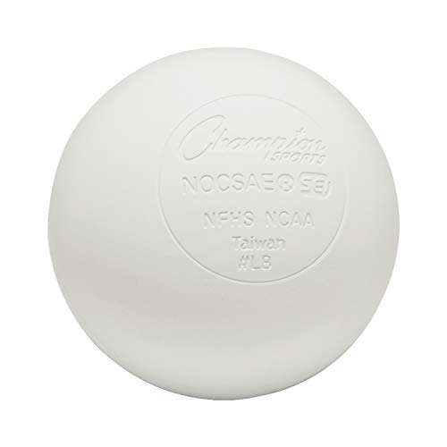 Champion Sports Colored Lacrosse Balls: White Official Size Sporting Goods Equipment for Professional, College & Grade School Games, Practices & Recreation - NCAA, NFHS and SEI Certified - 1 Pack