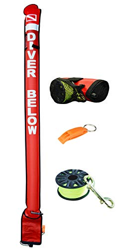 DiveSmart 7ft Scuba Diving Surface Marker Buoy (SMB) with High Visibility Reflective Band, Strobe Light or Flashlight Holder, 100ft ABS Finger Reel and Whistle (7ftRed)