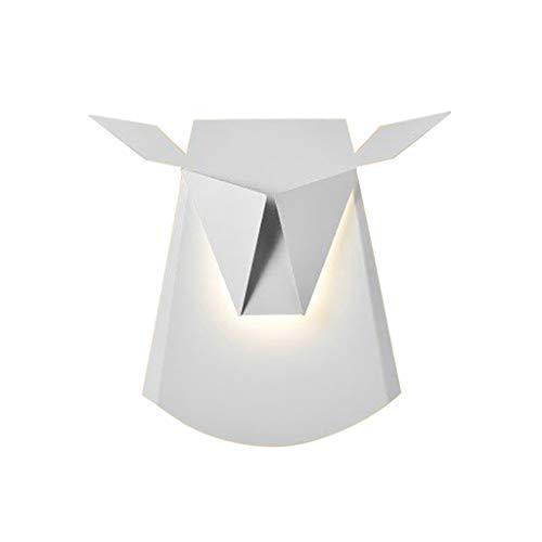 Lámpara de Pared Wall Lamp Lámpara de pared Deer Head, estilo simple del arte, dormitorio de la sala de estar de la sala de estar de 5/7/9W dormitorio lámparas de pasillo del pasillo Apliques pared