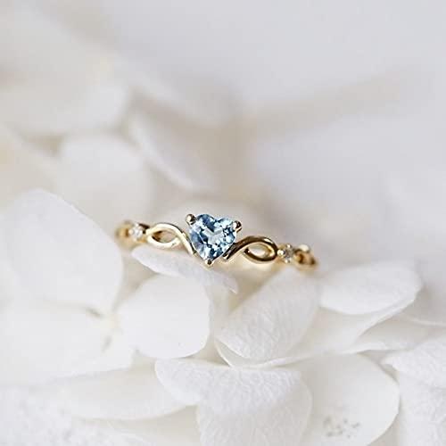 PangTuZiYin 2021 Nuevo Anillo de corazón Simple para Mujer, Bonitos Anillos románticos para Dedo, Diamantes de imitación para niña, Compromiso de Boda, Regalo de joyería de cumpleaños