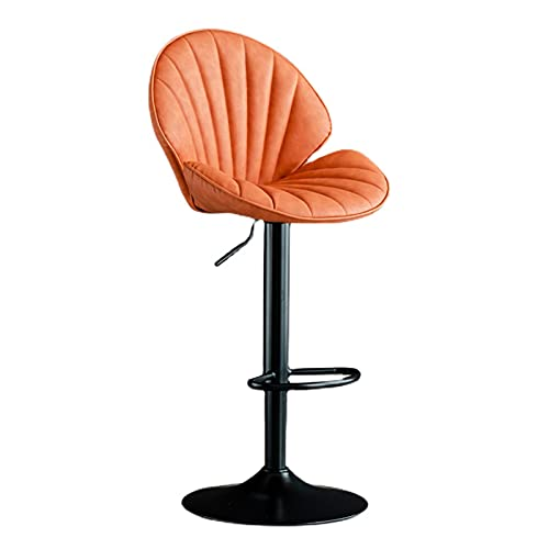 Bar stool Counter Stools Bar Stools With Back Height Adjustable Swivel Barstools Kitchen Breakfast Chair Dining Stool Bar Chair With Footrest(Color:Orange)