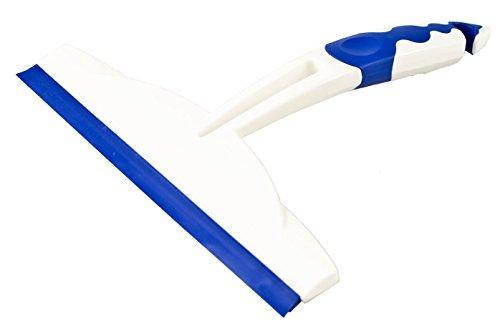 Centini –Extractor Ventana/Puerta de Ducha, 20x 20x 2,5cm, Color Blanco/Azul, Mango de 2K (TPE), Doble Campana Labio