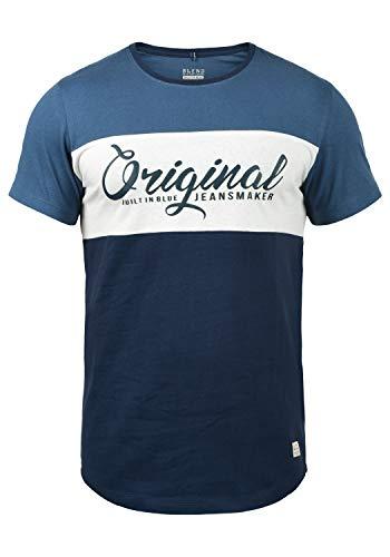 Blend Nero Herren T-Shirt Kurzarm Shirt Print Mit Streifen Und Rundhalsausschnitt, Größe:M, Farbe:Navy (70230)