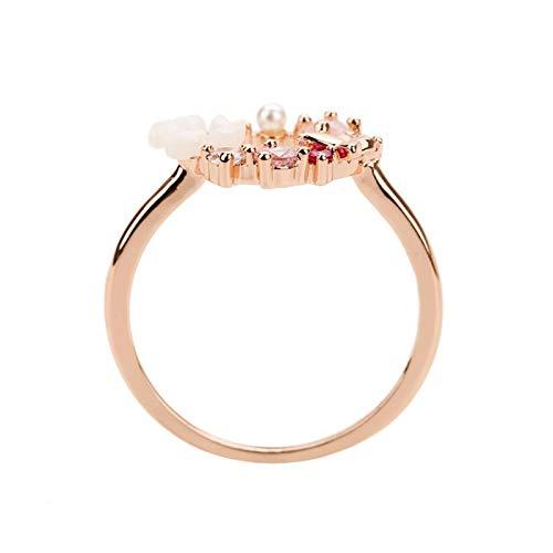 Anillos de dedo de cristal con flores de mariposa creativas para mujer, anillo de glamour de circonita, joyería para niña, regalo-9, oro rosa