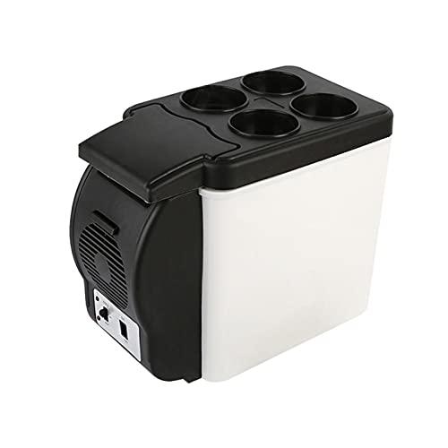 RURUZI Nevera de coche 6L para coche, refrigerador, compresor de coche, color negro, para furgoneta, RV, vehículo, uso doméstico, picnic, camping, enfriador portátil, nevera y congelador