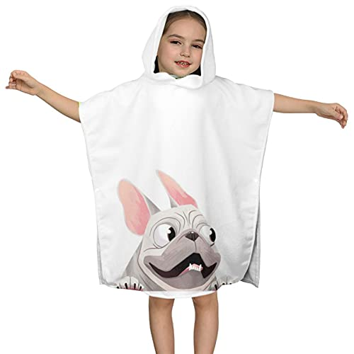 DIRYKILP French Bulldog Hooded Towel, Kids Hooded Bath Towel, Ultra Soft Microfiber Absorbent Towel, Hooded Bath Cloak for Kids 2 to 7 Years 23.7X23.7in