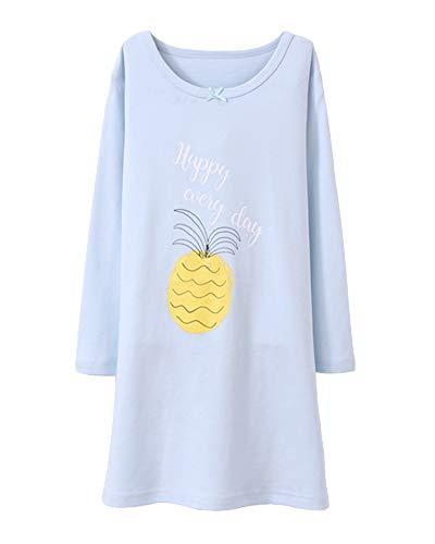 Nachthemden Für Mädchen Lange Ärmel Kinder Schlafanzüge Für 3-12 Jahre Blau 170