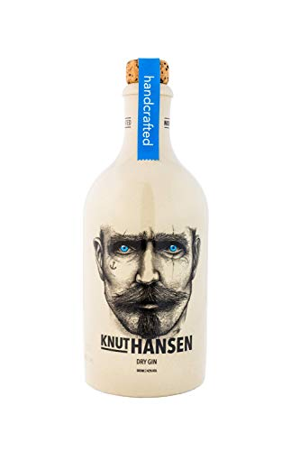 KNUT HANSEN DRY GIN – handcrafted Gin nach klassisch nordischer Art, mit Wacholder, Gurke, Basilikum und Apfel, in Keramik-Flasche, 1 x 0.5 l