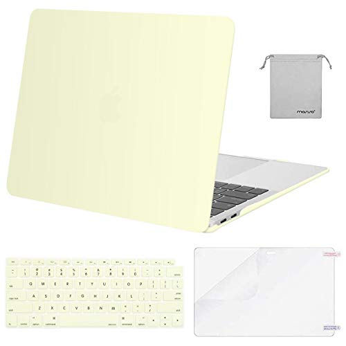 MOSISO MacBook Air 13 inch Case 2020 2019 2018 Release A2179 A1932 with Retina Display, Plastic Hard Shell&Keyboard Cover&Screen Protector&Storage Bag Compatible with MacBook Air 13, Cream Yellow